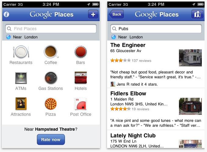 Google Places Mobile App