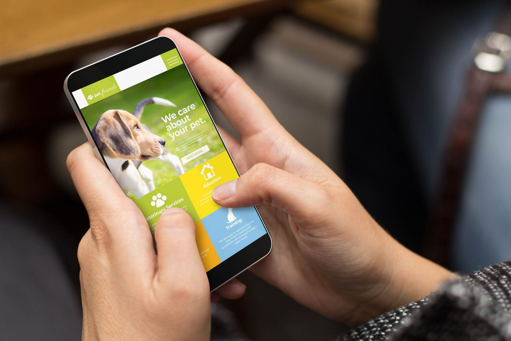 A fast veterinary website design on a mobile phone.