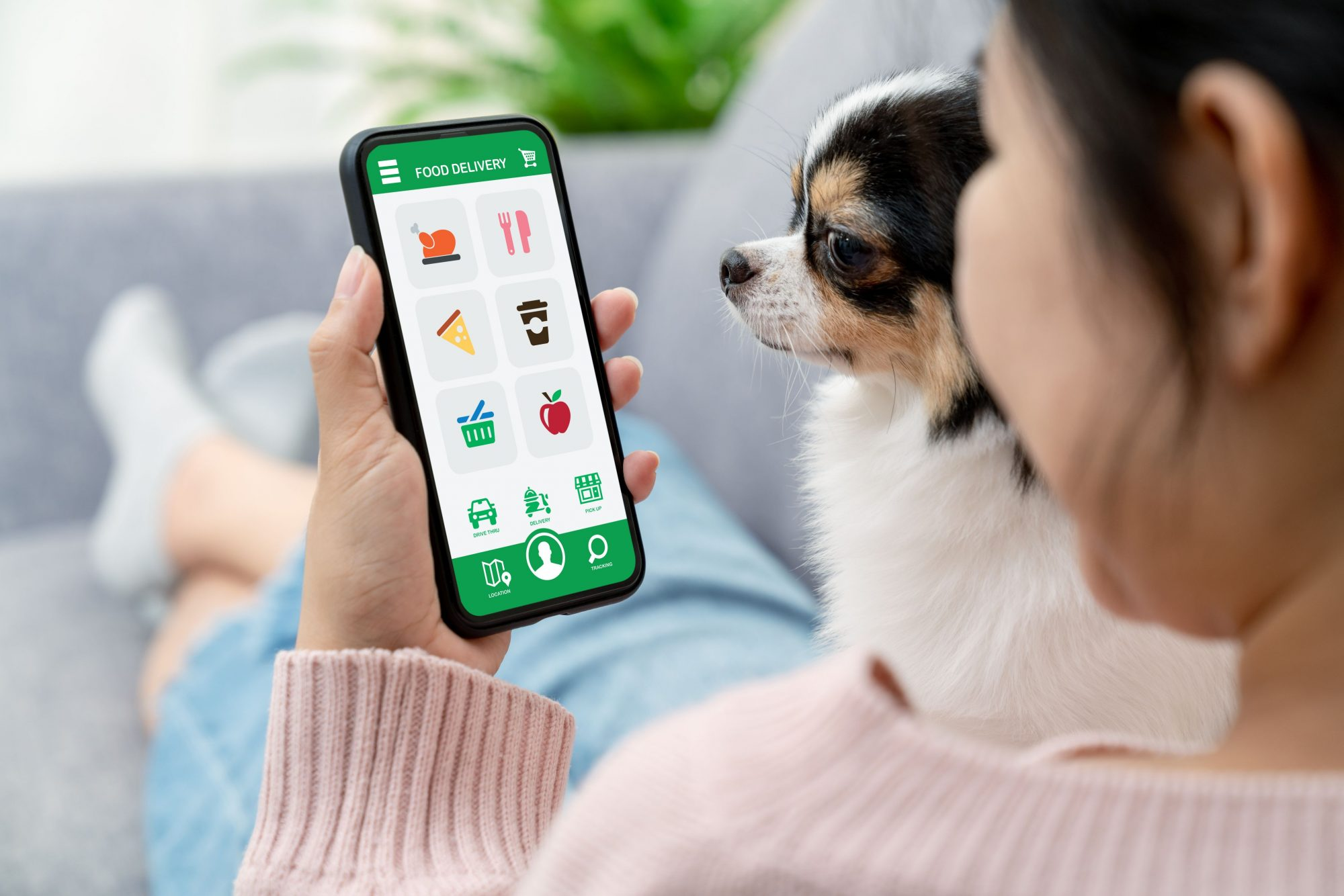 A woman and her dog view a mobile website.